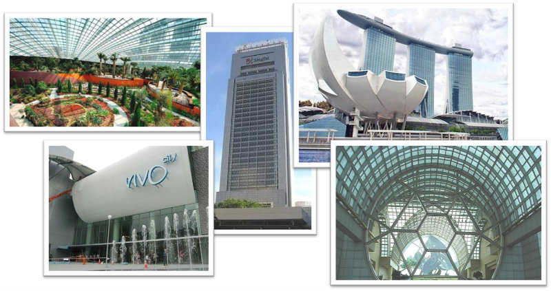 Singapore Buildings with Glass facade