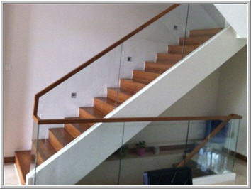 Wood Top Glass Handrail