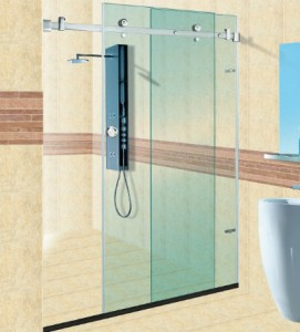 Glass panel partition for shower area